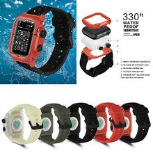 Pełna ochrona IP68 wodoodporna obudowa do Apple Watch Series 5 4 3 2 silikonowa bransoletka z paskiem do iWatch 44mm 42mm opaska sportowa