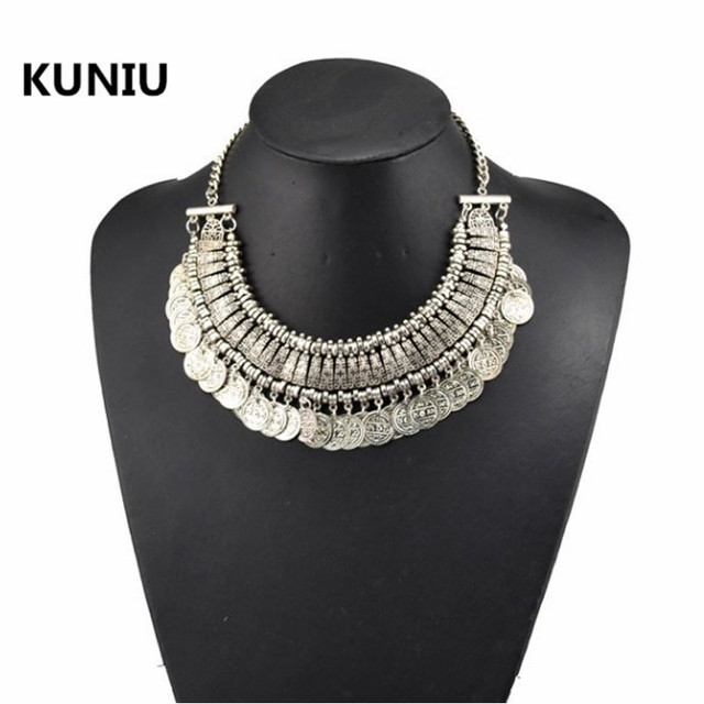 Fatpig Hot Selling Womens Stylish Pretty Boho Silver Coins Choker Statement Necklace