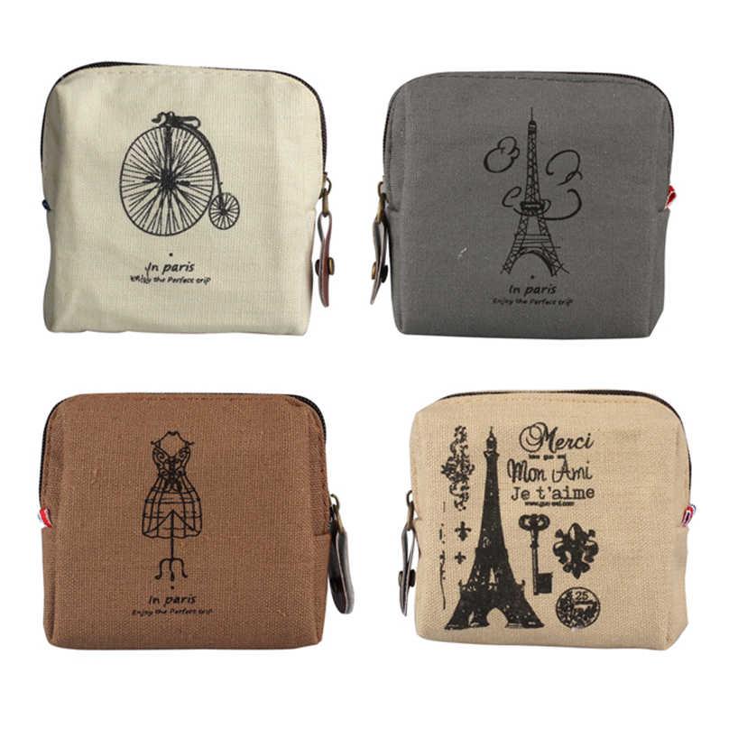 Aelicy VINTAGE คลาสสิกผู้หญิงผ้าใบกระเป๋าเหรียญซิปกระเป๋าสตางค์ขนาดเล็กกระเป๋าผู้ถือกระเป๋า Retro เงินกระเป๋าของขวัญ