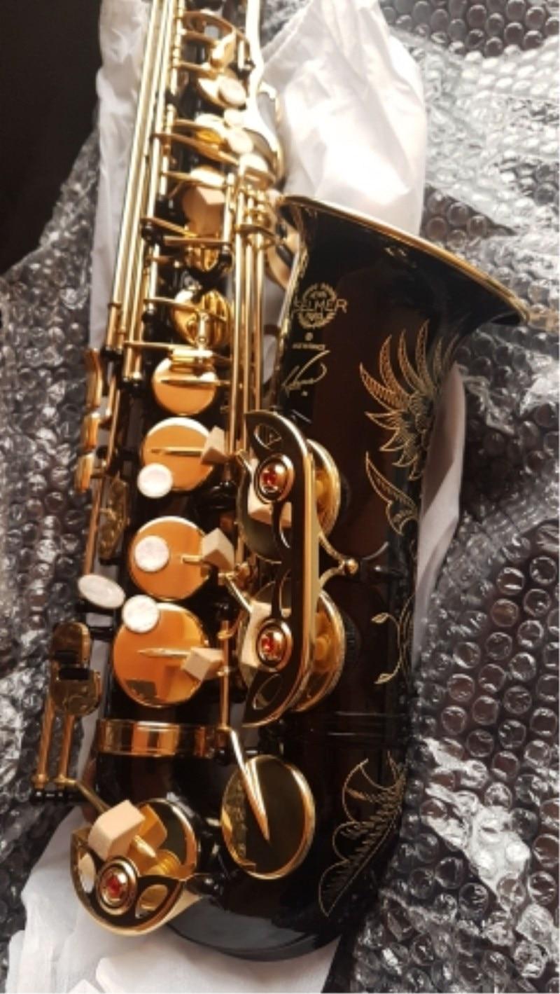 Selmer R54 Black Nickel Gold Saxophone Alto Brass Instruments Alto Saxophone Selmer Carved Pattern Eb Sax  Alto Saxophone brand suzuki eb alto saxophone as 500n drop e saxophone surface to electroplating black nickel gold the paint sax instrument