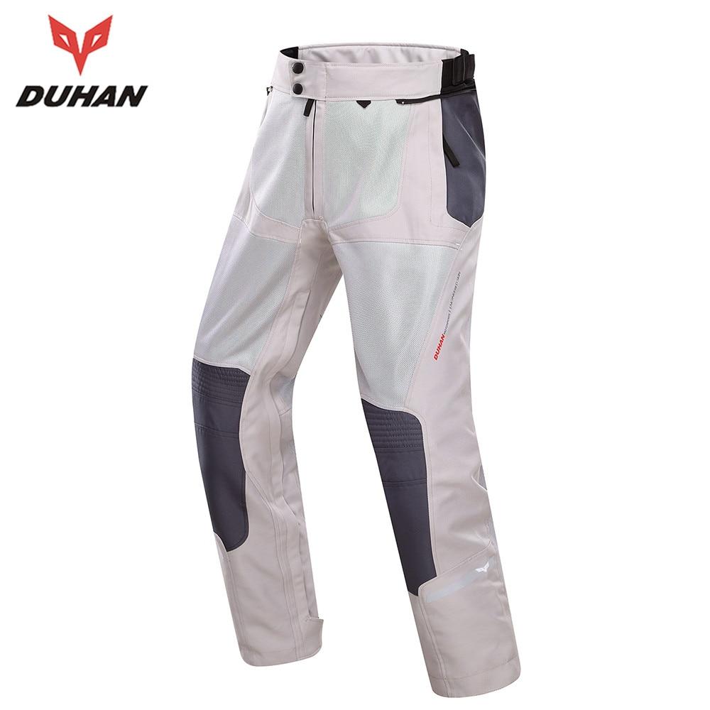 DUHAN Pro Street Motocross Breathable Hip Protector Motorcycle Motorbike Mesh Trousers for Men Motor Pants White