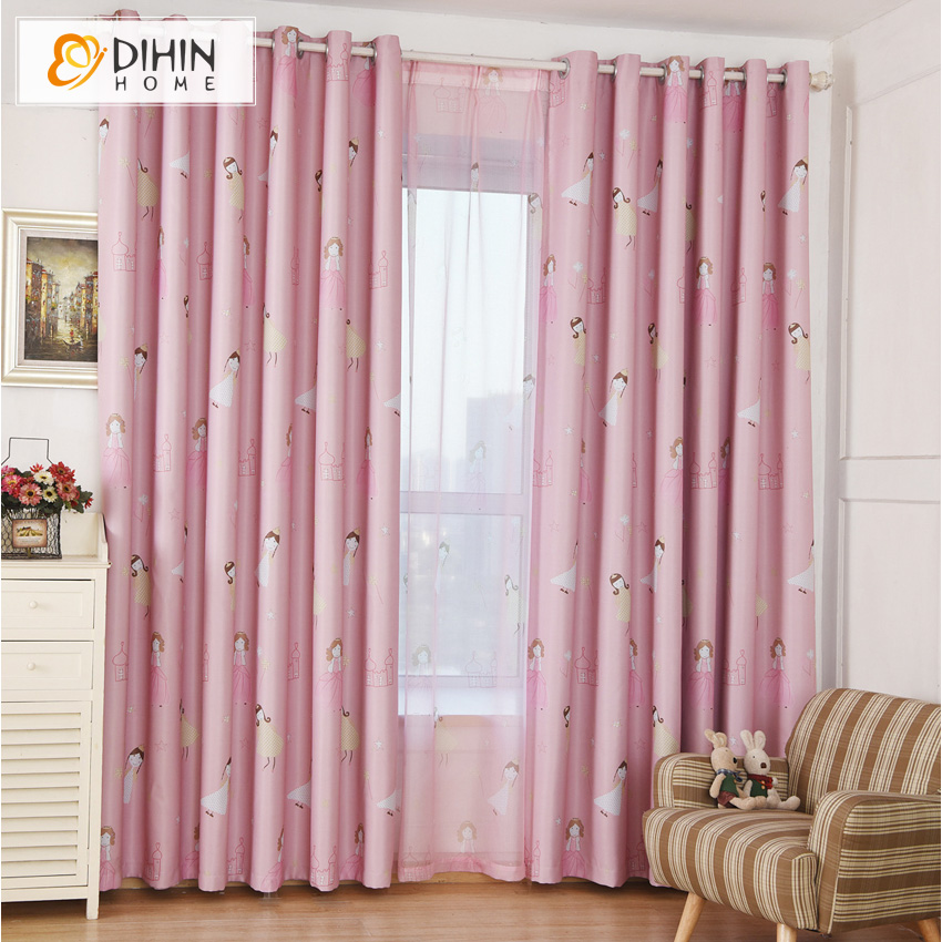 Elegant Pink Color Printed Blackout Curtains For Children Kids Room Window Drapes  Sheer Curtain For Living Room