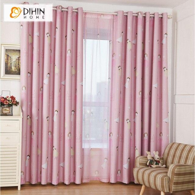 roze kleur gedrukt verduisteringsgordijnen voor kinderen kinderkamer raam gordijnen sheer gordijn voor woonkamer