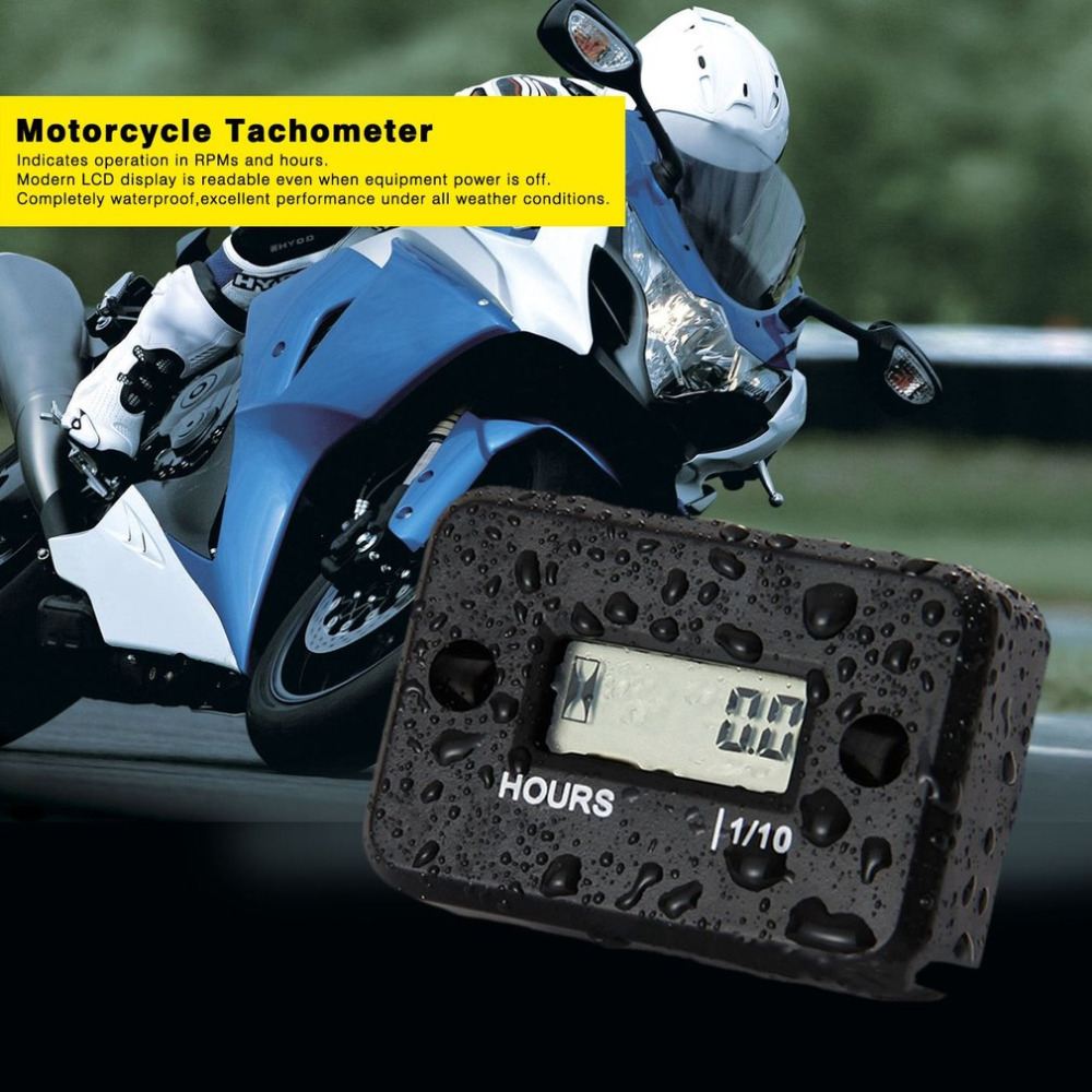 Newest Digital Hour Meter Counter Hour Meter Waterproof For 2/4 Stroke Gas Motorcycle For Marine ATV Snowmobile Motor Bike Hot waterproof snap in dc 4 5 12v 24v 36v 48v 60v hour meter counter for generator marine atv motorcycle snowmobile boat jet ski utv