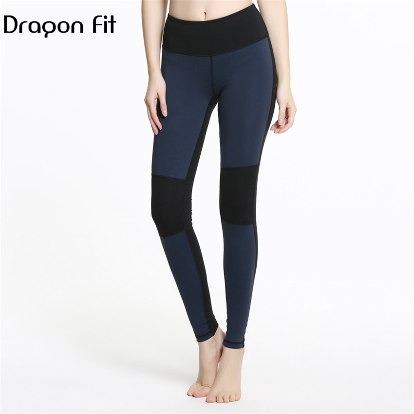 Dragon Fit Patchwork Breathable Fitness Pants Women Compression Yoga Leggings Running Quick Drying Fitness Leggings Female