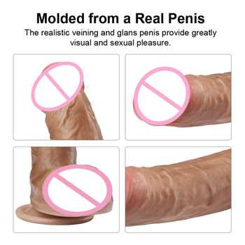 Luvkis Brown Skin Feeling Bend Huge Big Dildo Realistic with Suction Cup Double Layer 7/7.7/8/8.7/9.8 inch Sex Toys for Woman