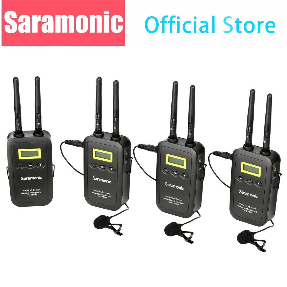 Saramonic 5.8GHz Wireless Lavalier Microphone System VmicLink5 3 Transmitters & 1 Receiver for Canon EOS Nikon D3300 DSLR Camera saramonic vmiclink5 hifi 5 8ghz lavalier lapel wireless microphone system for news gathering
