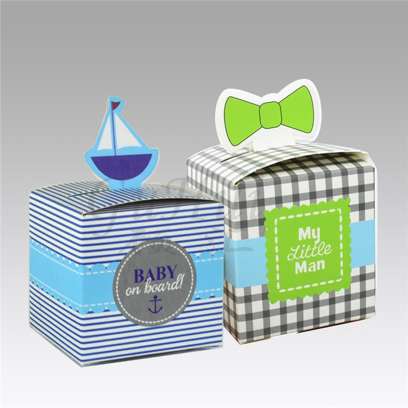 Blue Sailboat candy box Baby On Board collar tie cookie box creative small gift packaging birthday party baby shower favor