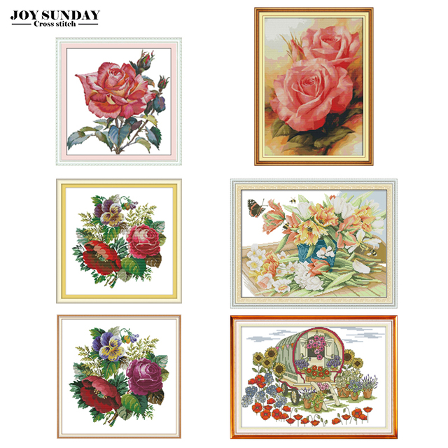 Flower Car Cross Stitch Kit Counted Printed Canva 14CT 11CT DMC DIY Handwork Chinese Embroidery Needlework Sets Decor Paintings