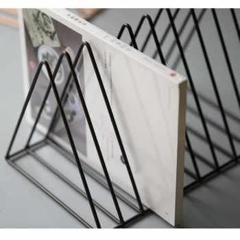 DUNXDECOโฮมออฟฟิศเหล็กที่เก็บหนังสือนิตยสารไอไลค์ที่วางโต๊ะมัลติฟังก์ชั่Organizer Modernศิลปะเรขาคณิตตกแต่ง