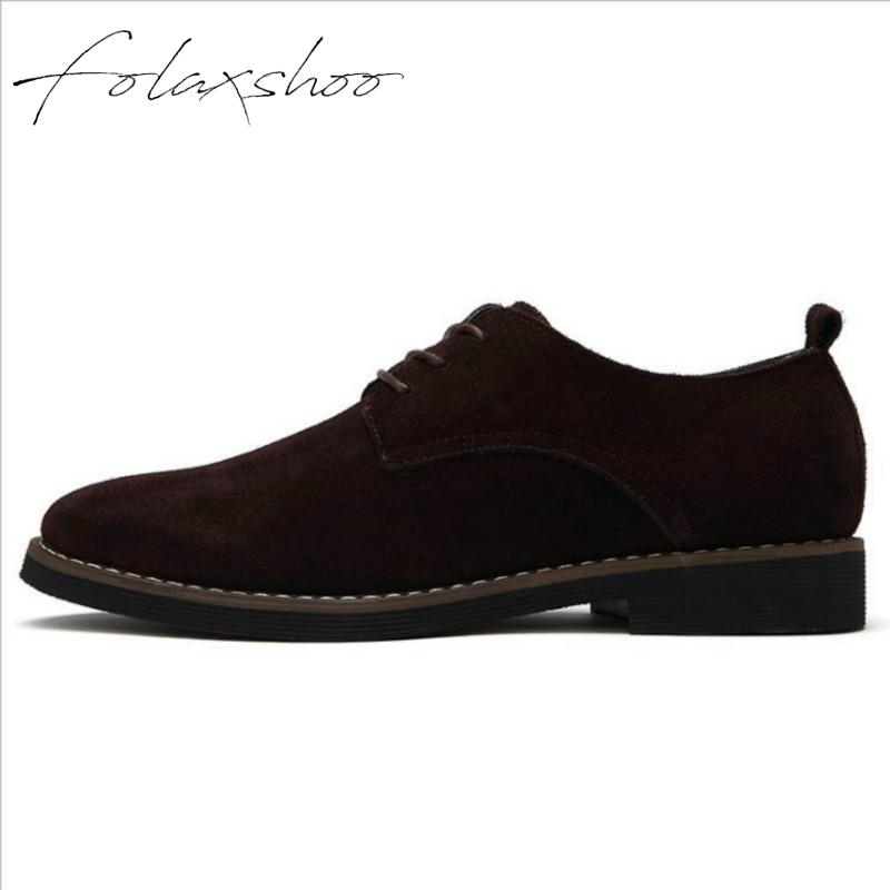 Folaxshoo Men   Leather   Shoes Rubber Lace-up Men's Casual   Suede     Leather   Footwear New Fashion Breathable Tourism Men Shoes Autumn