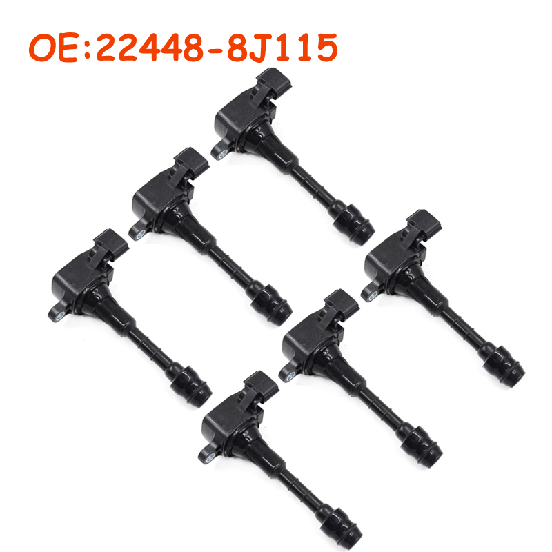 6 PCS 22448 8J115 224488J115 For Nissan Maxima Murano Pathfinder Quest Xterra Infiniti I35 QX4 02 03 04 05 06 07 Ignition Coil|Ignition Coil| |  - title=