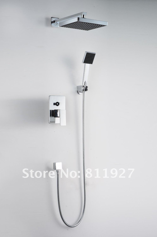 Polish Chrome  Rainfall Square Head Shower Bathroom Shower Set Faucet  Tub Mixer Tap Hand Shower Wall Mounted polish chrome 8 thermostatic rain shower faucet set dual handle wall mount tub shower mixer tap hand shower