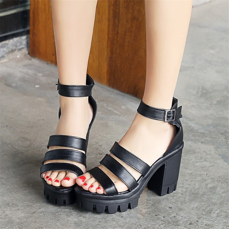 Size 33-43 New Summer Women Sandals Shoes Platform Square High heeled Ankle Buckle Strap Sexy Peep Toe Pumps Shoes free shipping xiaying smile summer new woman sandals platform women pumps buckle strap high square heel fashion casual flock lady women shoes
