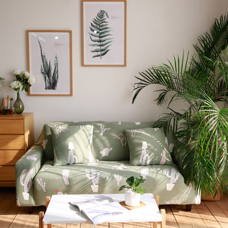 Cactus Cotton Living room sofa cover All-inclusive Elastic stretch Furniture slipcovers Corner House universal seat