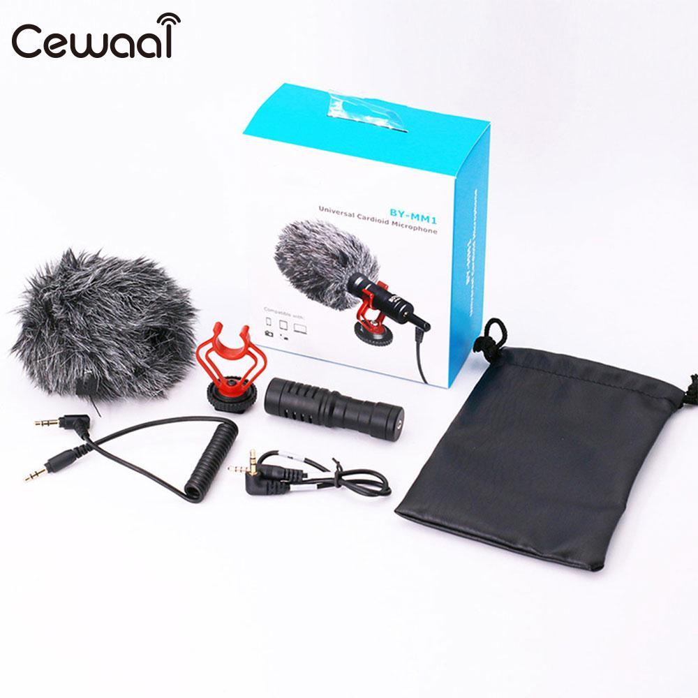 Cewaal Record Microphone DSLR caméras étui en cuir Smartphone pour Smartphone téléphone en direct Durable petit téléphone Microphone