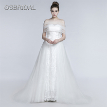 GSBRIDAL Strapless Lace Appliques Removable Wrap Bridal Wedding Gown