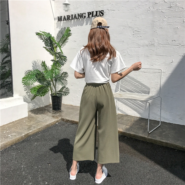 19 Women Casual Loose Wide Leg Pant Womens Elegant Fashion Preppy Style Trousers Female Pure Color Females New Palazzo Pants 25