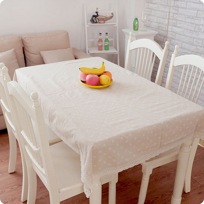 Good Hot Rectangular Cute Tablecloth Linens Cotton Daisy Printed Larger Size  Tablecloths Waterproof Napkins Decorative Fabric Cover
