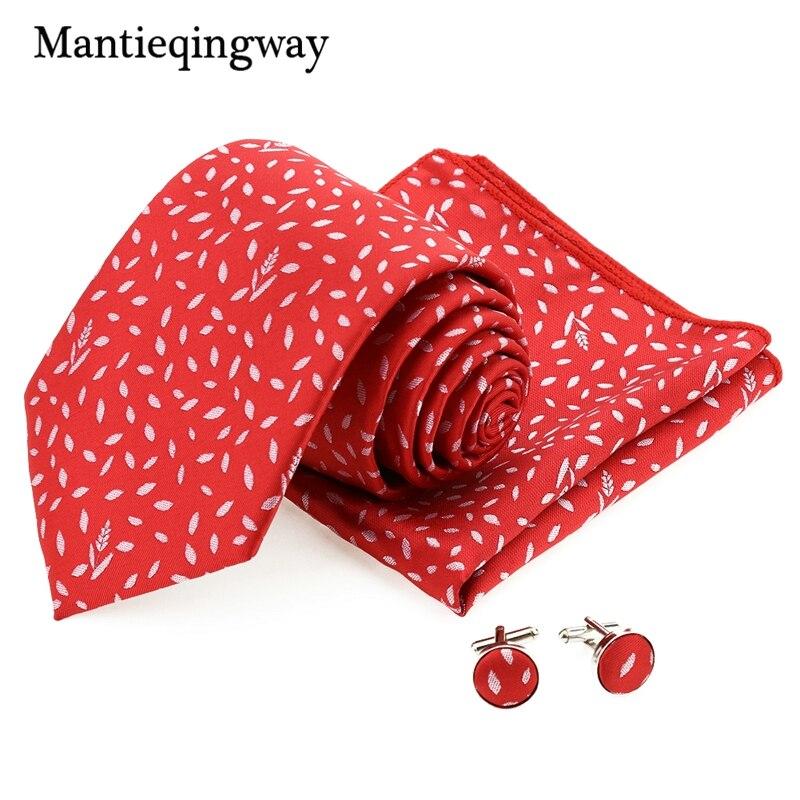 Mantieqingway Polyester Yarn 8.5cm Wide Gravat Necktie Hanky Cufflink Set For Men Red Casual Kravat Set For Wedding Party