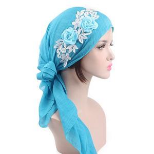 Image 3 - Gorras para musulmanes con flores para mujer, Bandana Hijab para la caída del cabello, sombreros turbante de quimio, banda para el cabello, para la cabeza turbante, moda islámica India