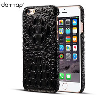 DaTTap Crocodile Grain Phone Case For IPhone 7 Case 7 Plus Luxury Genuine Leather Back Cover