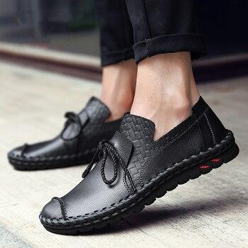 Zapatos Con Lazos | Zapatos Planos De Cuero Para Hombre Mocasines De Encaje Con Lazo Para Hombre Zapatos Casuales Transpirables Chaussure Nuevo Mocasín Sapato Masculino