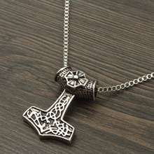 Dropshipping Norse Vikings Anchor Amulet Pendant Retro Necklaces Hammer Of Thor Mjolnir Pendant Long Box Chain Necklace For Men s925 anchor pendant silver pendant chain retro punk pirate men