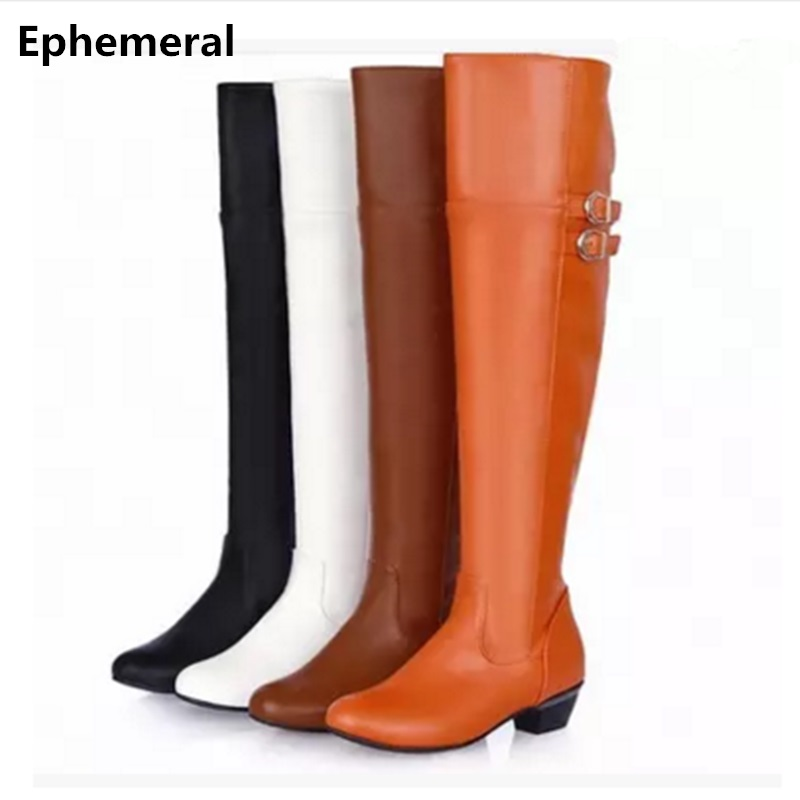 Ladies cosplay shoes long knee boots plush autumn fur shoes wedges low heel botas with buckle zipper soft leather plus size 47-4