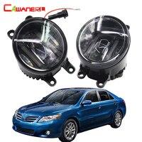 Cawanerl 2 Pieces Car Styling Left Right Fog Light LED DRL Daytime Running Lamp White 12V