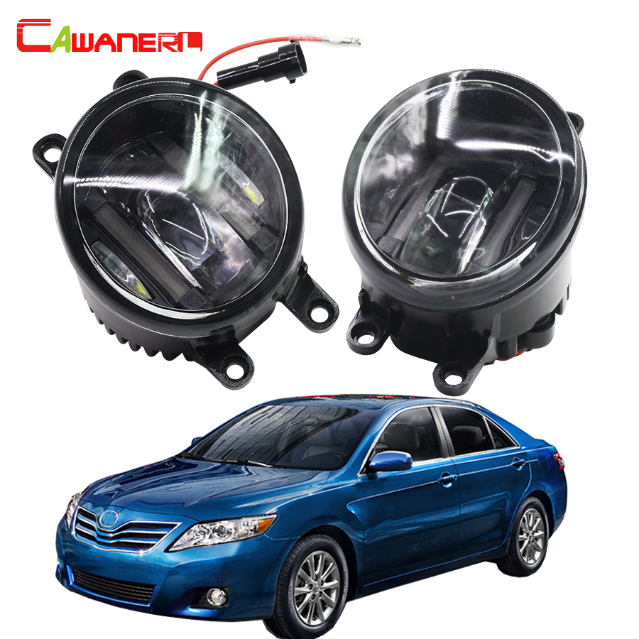 Cawanerl 2 Pieces Car Styling Left + Right Fog Light LED DRL Daytime Running Lamp White 12V For Toyota Camry 2006-2012 2pcs auto right left fog light lamp car styling h11 halogen light 12v 55w bulb assembly for ford fusion estate ju  2002 2008