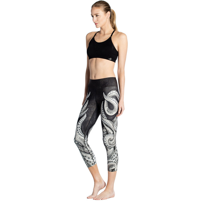 High Waist capris adventure time black milk calzas deportivas mujer fitness 3d print dark octopus  women leggings pants