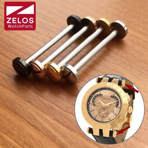 Haste do Tubo para Versace Peças do Kit Rosa de Ouro Assistir Parafuso V-racechrono Relógio Link Ouro – Preto Prateado Lug