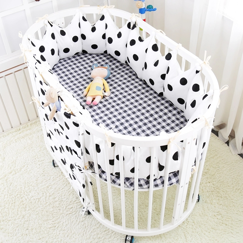 5pcs/set Cute Crown Thick Cot Protector Bumpers Luxury Baby Bedding Set Cotton Crib Linens Include Around Bed Bumpers Bed Sheet