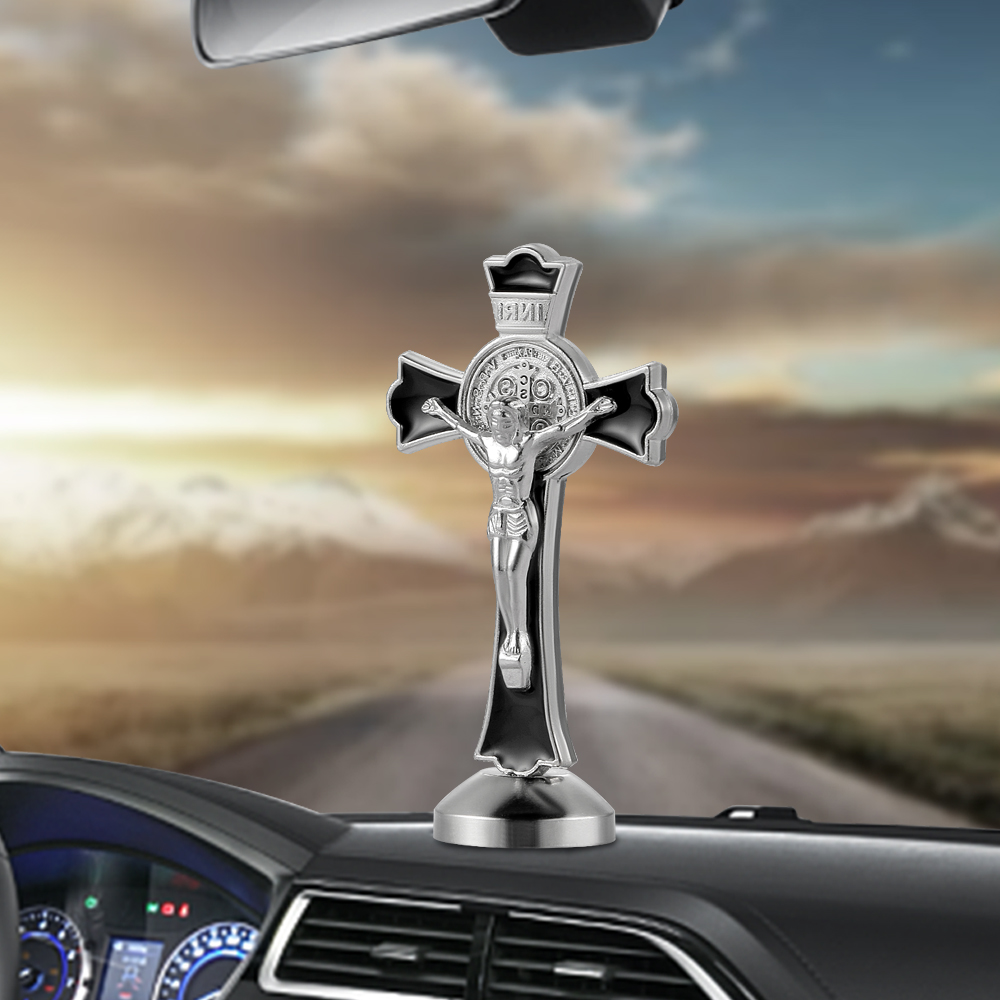 Metal Jesus Crucifix Christ INRI Cross Figurines Car Dashboard Decoration Ornament Christian Jesus Statue Home Decor Accessories car pendant crystal diamond jesus cross car decoration crucifix automobile rearview mirror christian decor hanging accessories