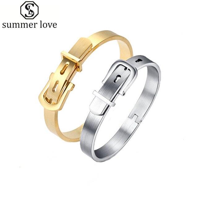 Belt Buckle Design Bracelet Femme 4 Colors Stainless Steel Punk Adjustable Cuff Bracelets Bangles Lady Jewelry
