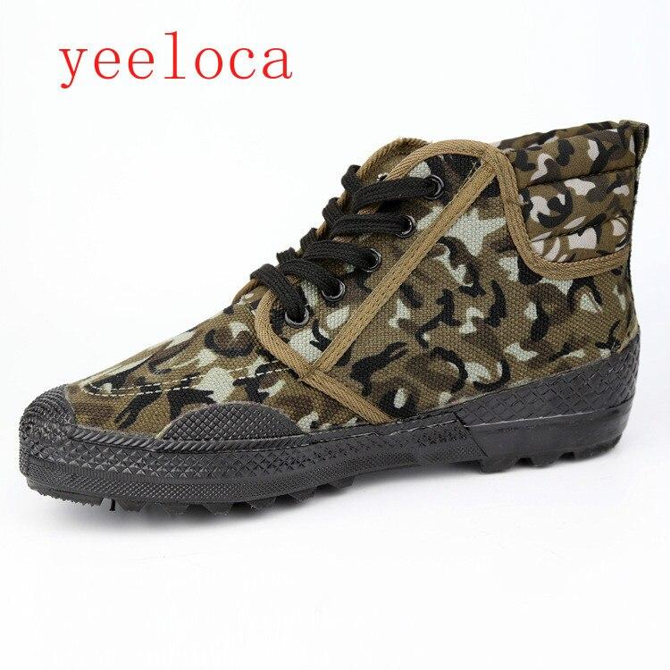 Ayakk.'ten Erkek Vulkanize Ayakkabı'de 2019 Yeeloca kurtuluş ayakkabı yüksek ayakkabı toptan askeri spor ayakkabıları giymek giymek koruma kamuflaj erkek ayakkabıları title=