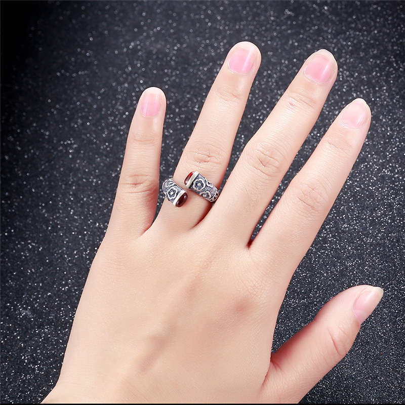 Image 3 - V.YA Retro Red Garnet Rings 925 Sterling Silver Ring for Women Female Natural Semi precious Stone Jewelry Birthday GiftRings   -