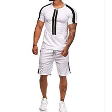 2019 New fashion popular style Casual stripe stitching hip-hop sports muscle Men's suit The jogger Breathes Comfortably(China)