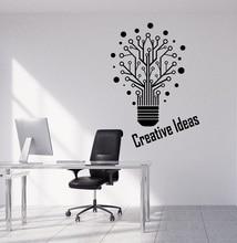 Vinyl muur applique creative bulb woord teken kantoor citaat workstation inspirational decoratieve sticker 2BG10