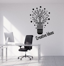 Vinyl wall applique creative bulb word sign office quote workstation inspirational decorative sticker 2BG10