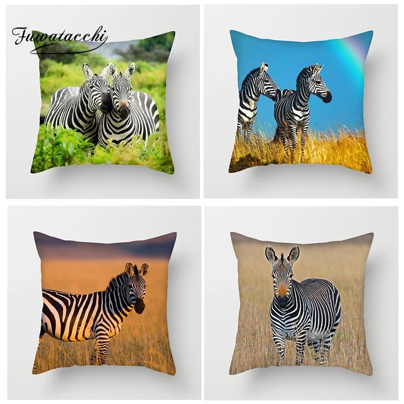 Fuwatacchi zèbre Animal housse de coussin divers zèbres jeter taie d'oreiller pour canapé-lit décor à la maison la prairie africaine taie d'oreiller