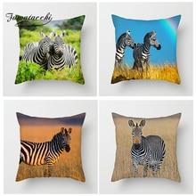 Fuwatacchi Zebra Animal Cushion Cover Various Zebras Throw Pillow For Sofa Bed Home Decor The African Grassland Pillowcase
