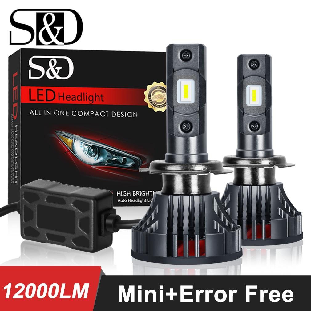 2pcs H4 H7 LED H11 HB3 9005 HB4 9006 Car LED Headlight Bulbs Canbus Error Free 12000LM 6000K Mini Auto Headlamp Fog 12V 24V