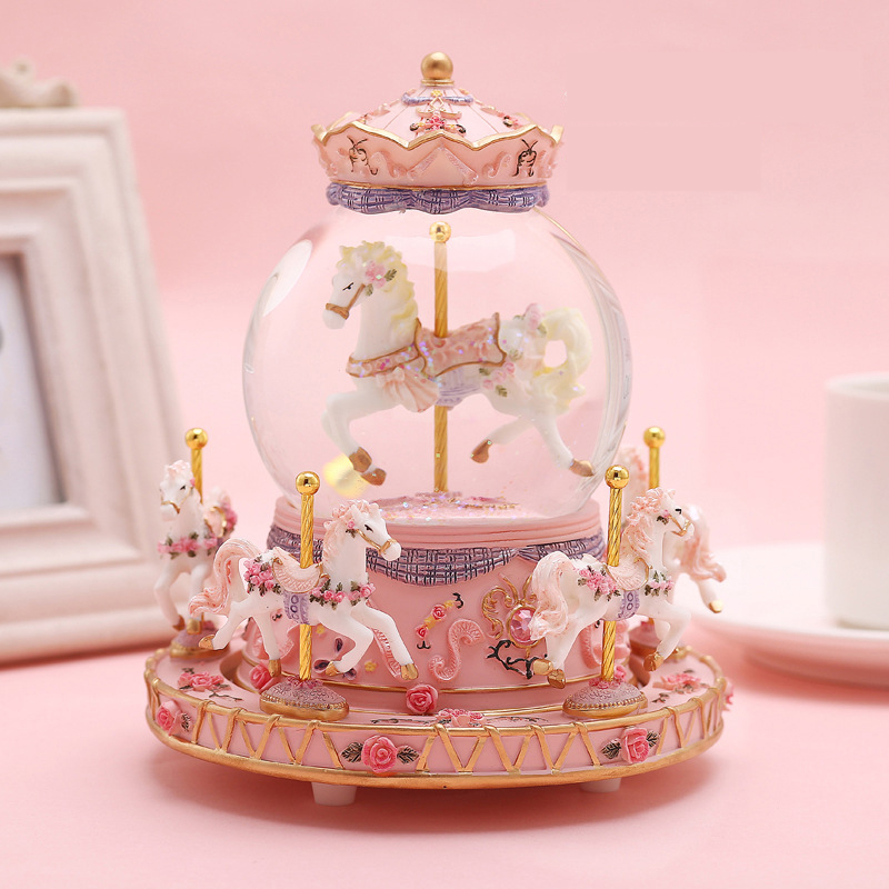 Detail Feedback Questions About Resin Luminous Carousel Horse Music