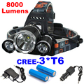 LED Headlight 3*T6 8000LM CREE XM-L T6 LED Headlamp Head Bike Lamp Outdoor Lights + 2* 18650 Battery + Charger + Car Charger