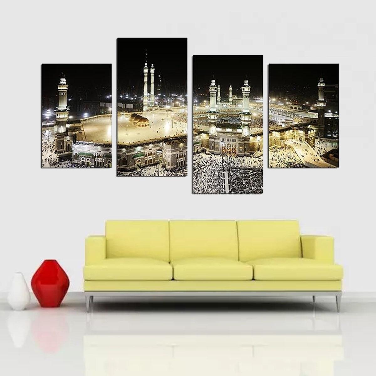 Mecca Night Frameless Islam Wall Hajj Canvas Pictures Wall ...