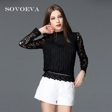 SOVOEVA 2017 New Spring Autumn Women Sweater Lace Striped Print Long Sleeves Bottoming-shirt Sweaters for Women Fashion