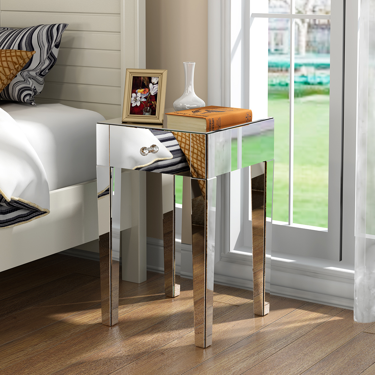 Panana Mirrored Glass Bedside Table With Drawers And Glass Handles Mirror Fast Delivery Bedroom Furniture