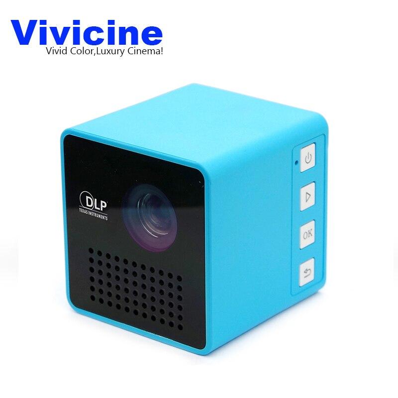 Livraison directe Vivicine P1 + WIFI mini projecteur, Format De Poche, batterie intégrée, Soutien Miracast DLNA De Poche Vidéo Proyector Beamer